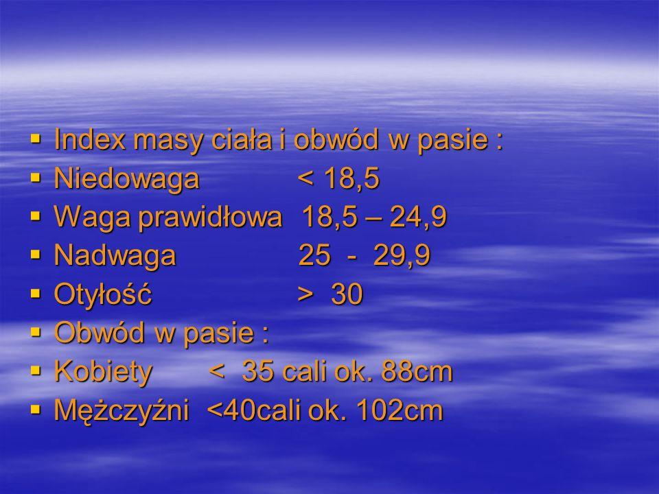 Index masy ciała i obwód w pasie :