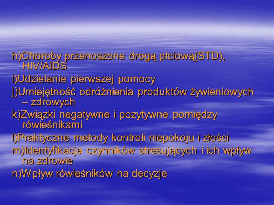 h)Choroby przenoszone drogą płciową(STD), HIV/AIDS