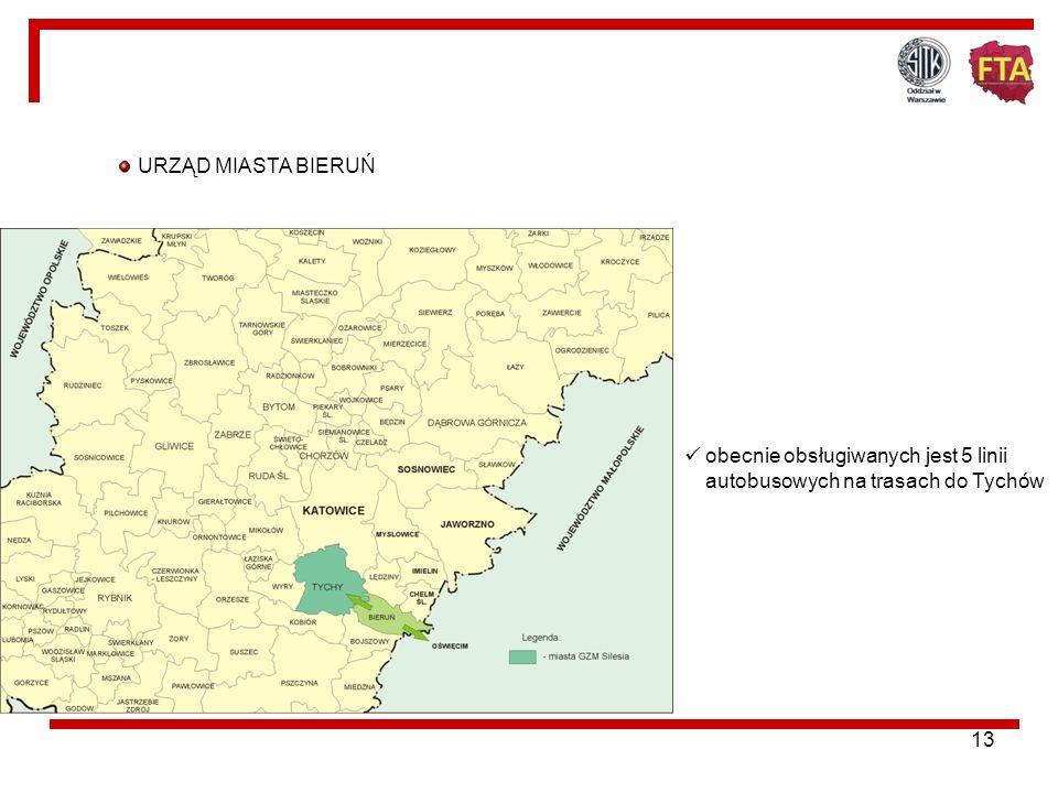 URZĄD MIASTA BIERUŃ obecnie obsługiwanych jest 5 linii autobusowych na trasach do Tychów