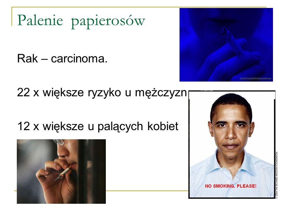 Palenie papierosów Rak – carcinoma. 22 x większe ryzyko u mężczyzn