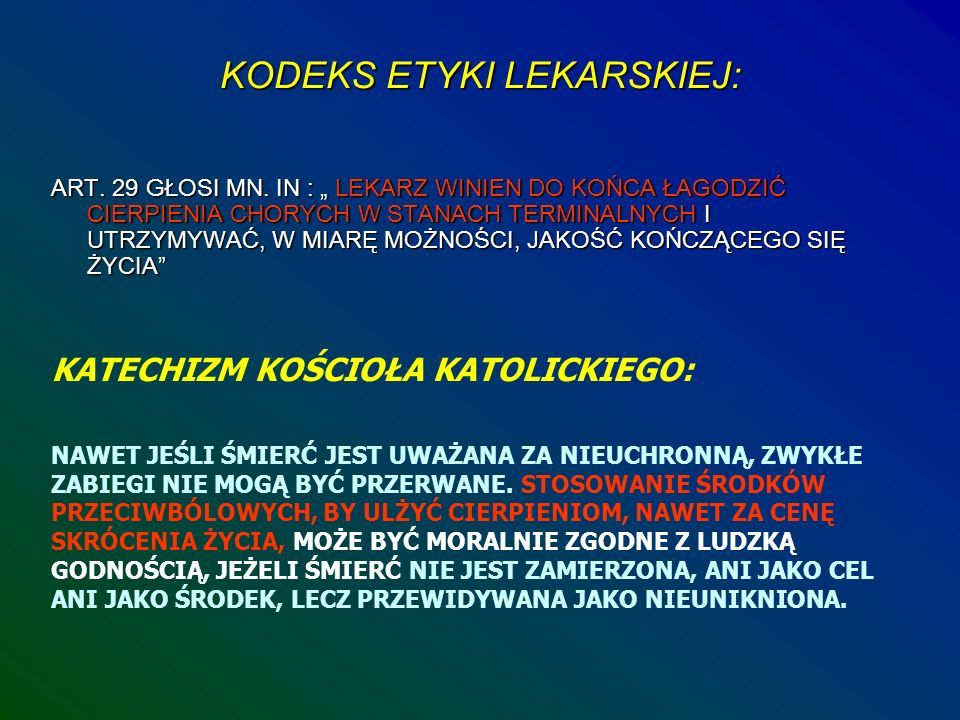 KODEKS ETYKI LEKARSKIEJ:
