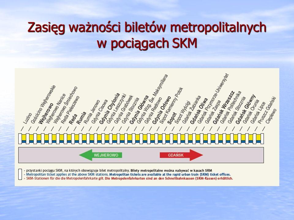 Zasięg ważności biletów metropolitalnych w pociągach SKM