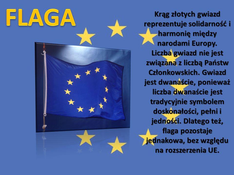 Krąg złotych gwiazd reprezentuje solidarność i harmonię między narodami Europy. Liczba gwiazd nie jest związana z liczbą Państw Członkowskich. Gwiazd jest dwanaście, ponieważ liczba dwanaście jest tradycyjnie symbolem doskonałości, pełni i jedności. Dlatego też, flaga pozostaje jednakowa, bez względu na rozszerzenia UE.