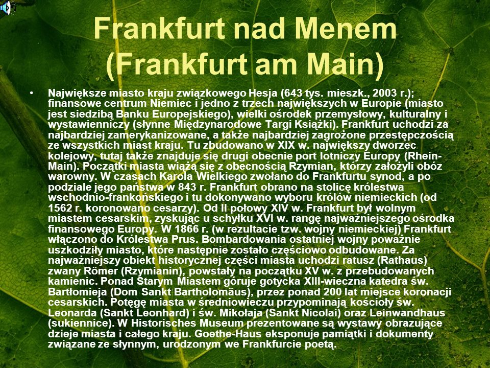 Frankfurt nad Menem (Frankfurt am Main)