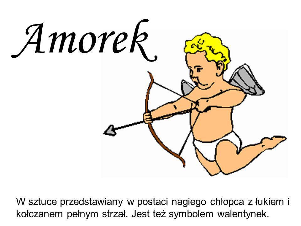 Amorek W sztuce przedstawiany w postaci nagiego chłopca z łukiem i kołczanem pełnym strzał.