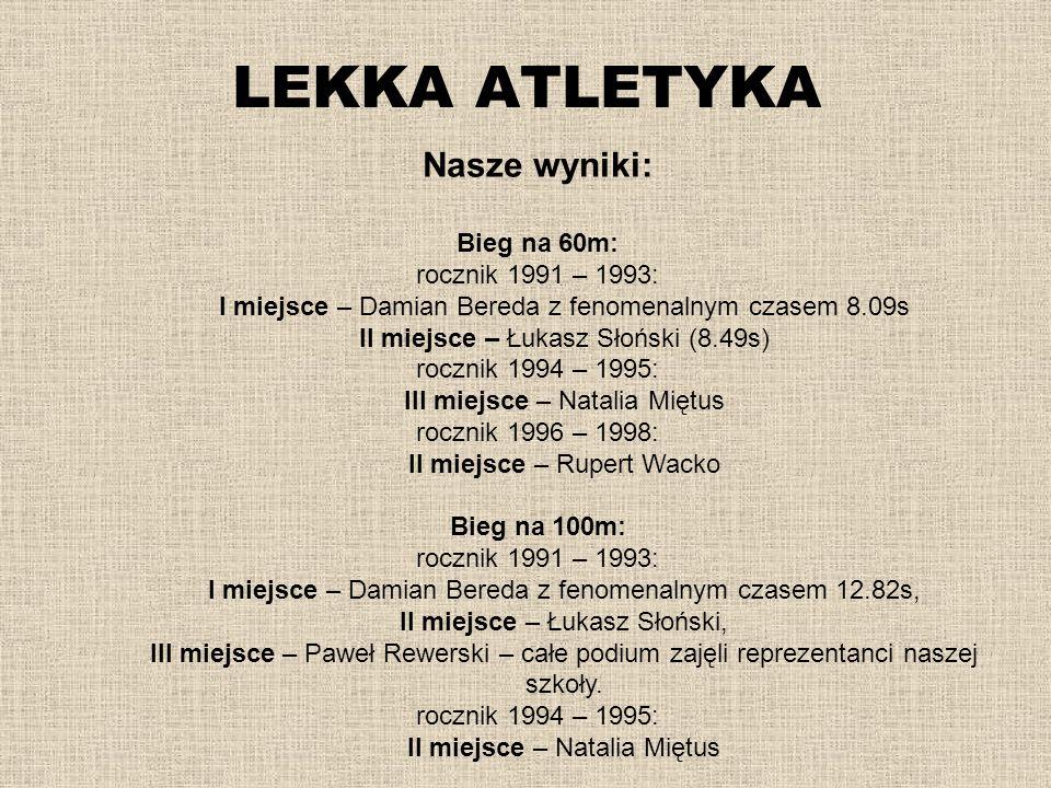 LEKKA ATLETYKA Nasze wyniki: Bieg na 60m: rocznik 1991 – 1993: