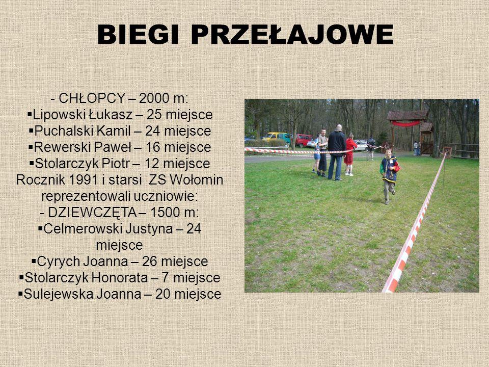 BIEGI PRZEŁAJOWE - CHŁOPCY – 2000 m: Lipowski Łukasz – 25 miejsce