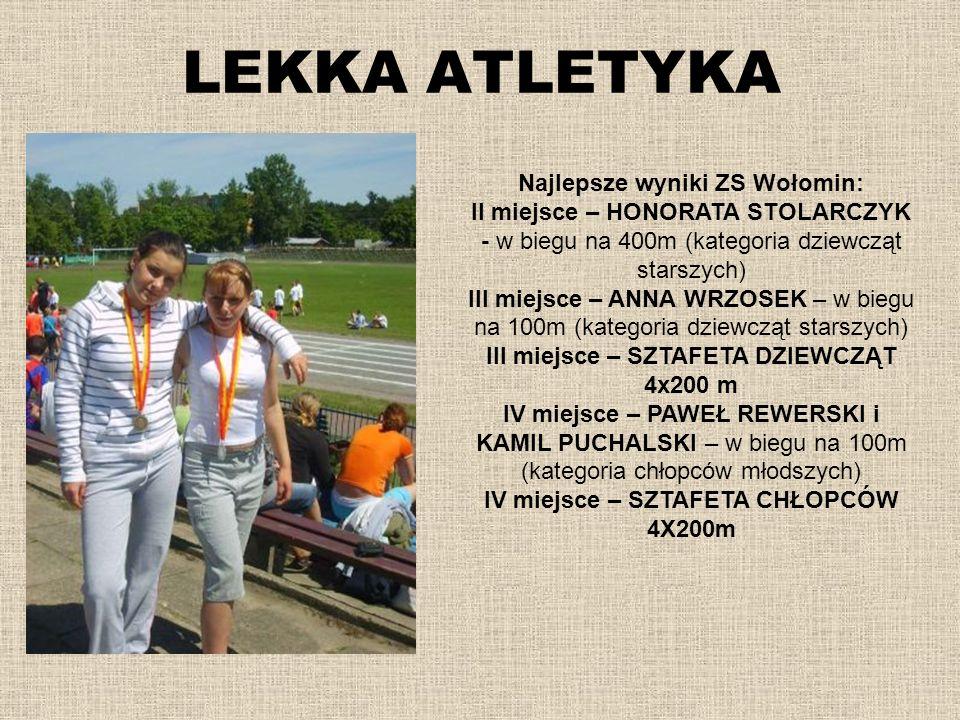 LEKKA ATLETYKA Najlepsze wyniki ZS Wołomin: