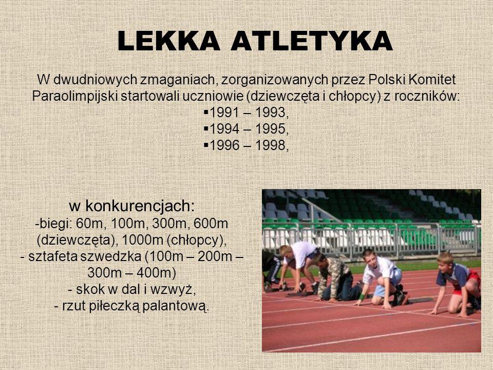 LEKKA ATLETYKA w konkurencjach: