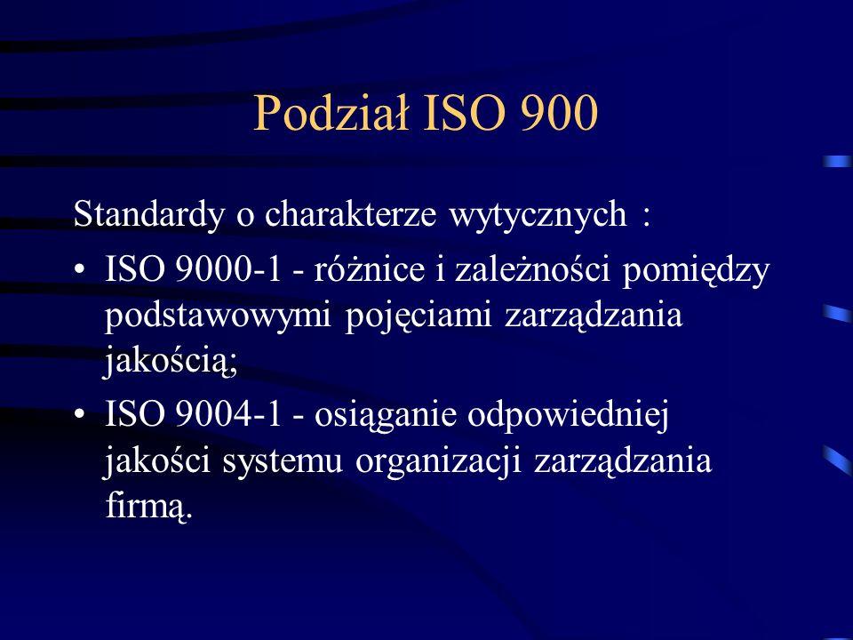 Podział ISO 900 Standardy o charakterze wytycznych :