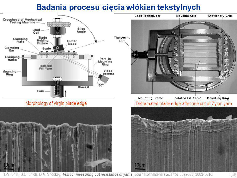 Badania procesu cięcia włókien tekstylnych
