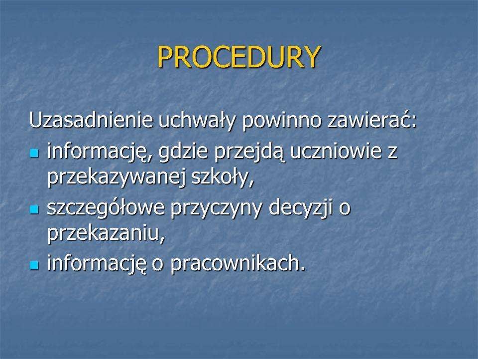 PROCEDURY Uzasadnienie uchwały powinno zawierać: