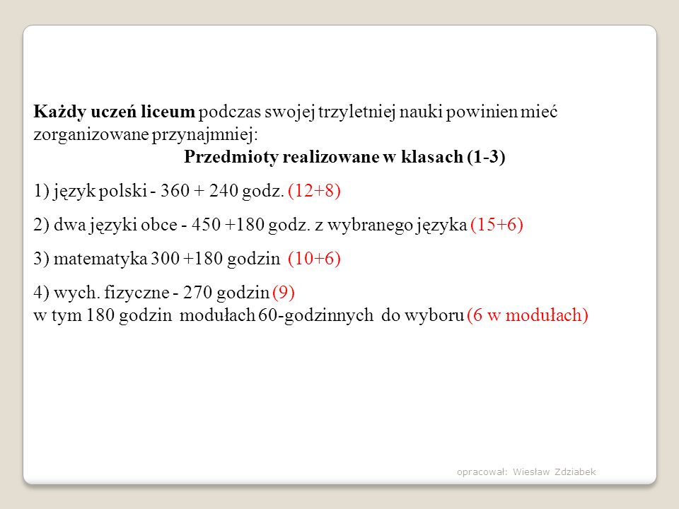 Przedmioty realizowane w klasach (1-3)