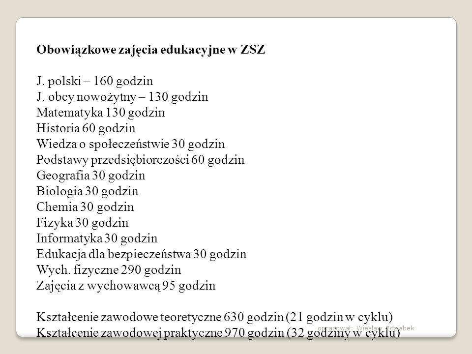 Obowiązkowe zajęcia edukacyjne w ZSZ J. polski – 160 godzin