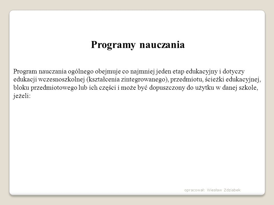 Programy nauczania