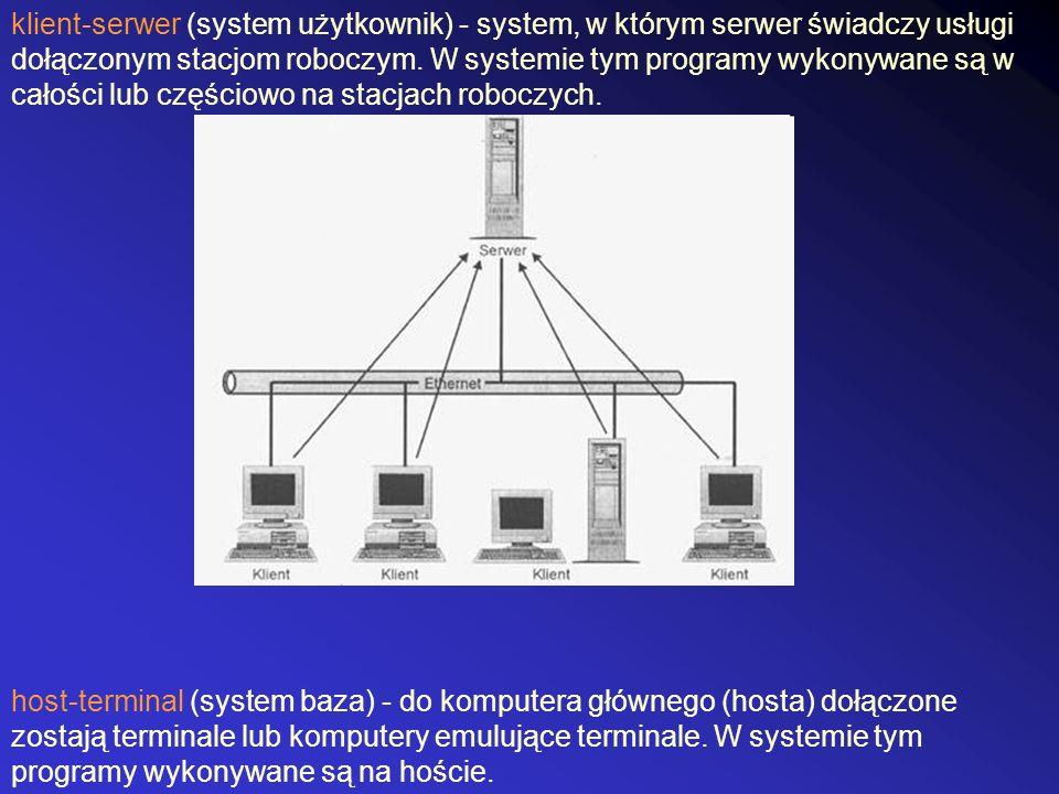 klient-serwer (system użytkownik) - system, w którym serwer świadczy usługi dołączonym stacjom roboczym. W systemie tym programy wykonywane są w całości lub częściowo na stacjach roboczych.