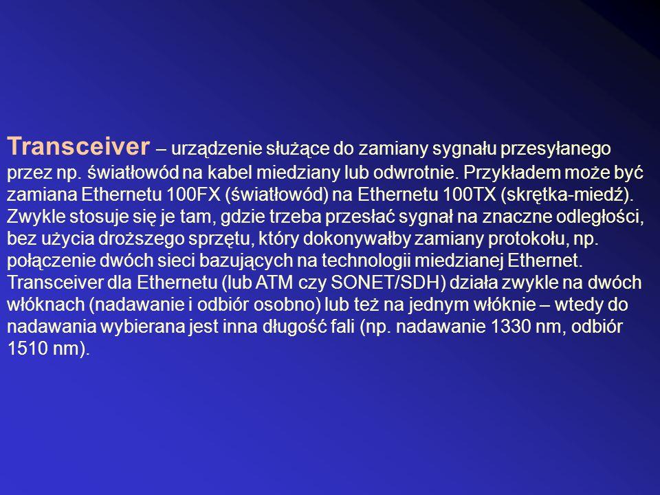 Transceiver – urządzenie służące do zamiany sygnału przesyłanego przez np.