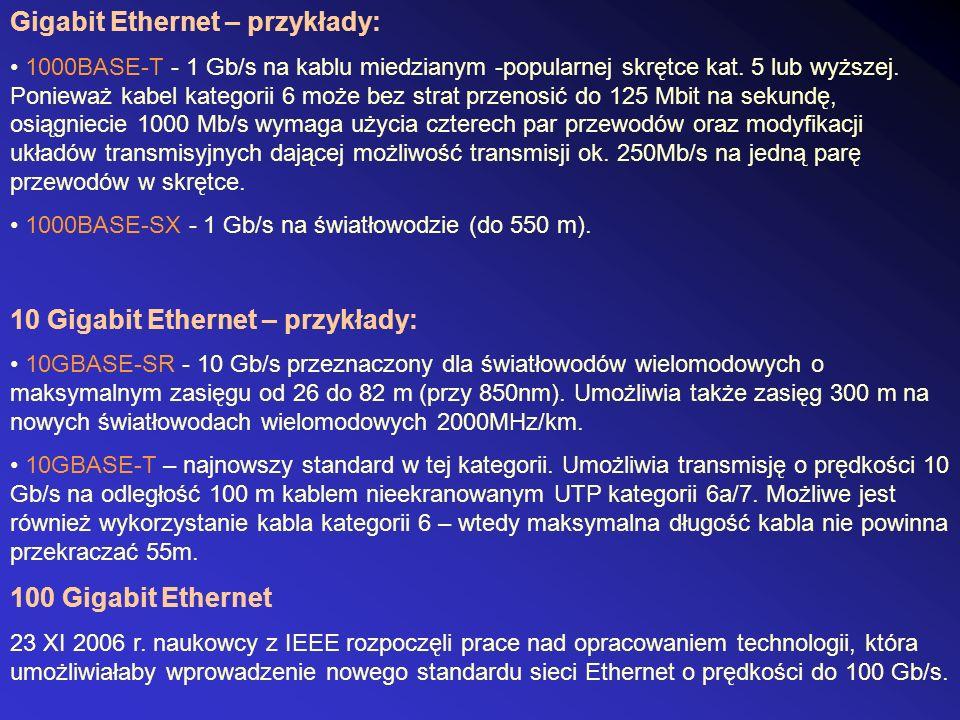Gigabit Ethernet – przykłady: