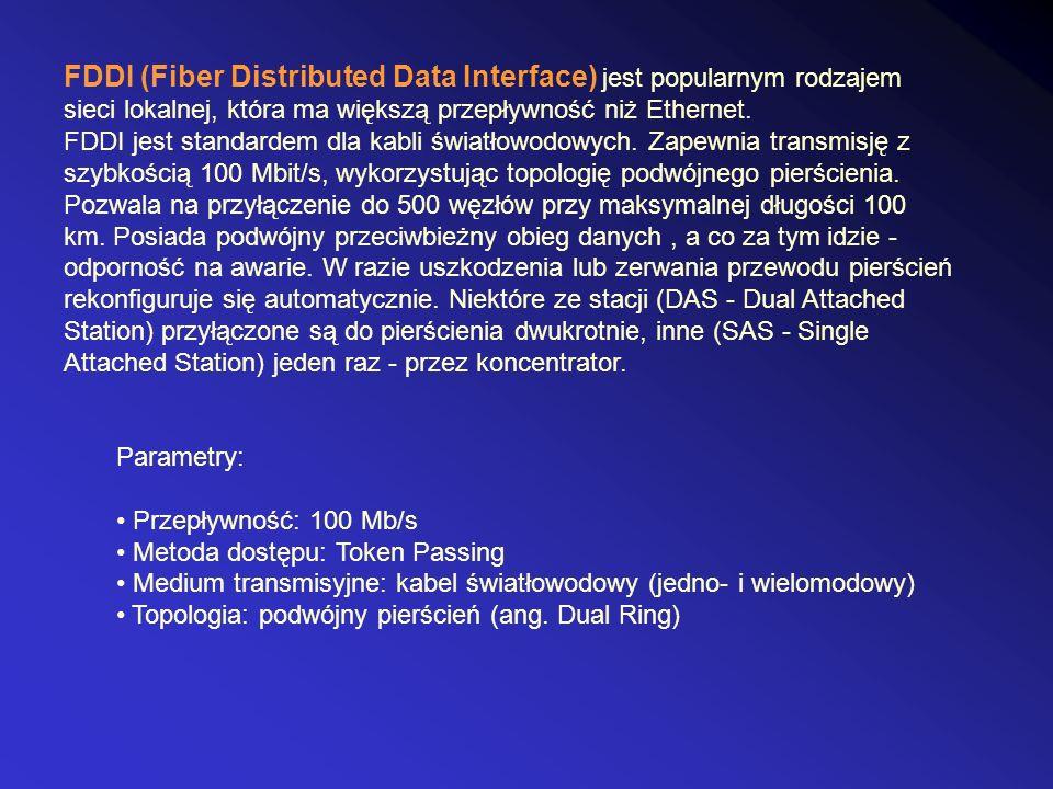 FDDI (Fiber Distributed Data Interface) jest popularnym rodzajem sieci lokalnej, która ma większą przepływność niż Ethernet. FDDI jest standardem dla kabli światłowodowych. Zapewnia transmisję z szybkością 100 Mbit/s, wykorzystując topologię podwójnego pierścienia. Pozwala na przyłączenie do 500 węzłów przy maksymalnej długości 100 km. Posiada podwójny przeciwbieżny obieg danych , a co za tym idzie - odporność na awarie. W razie uszkodzenia lub zerwania przewodu pierścień rekonfiguruje się automatycznie. Niektóre ze stacji (DAS - Dual Attached Station) przyłączone są do pierścienia dwukrotnie, inne (SAS - Single Attached Station) jeden raz - przez koncentrator.