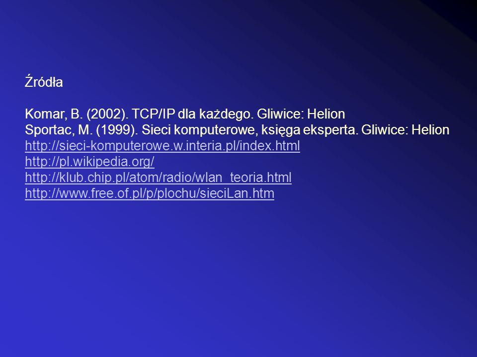 Źródła Komar, B. (2002). TCP/IP dla każdego. Gliwice: Helion. Sportac, M. (1999). Sieci komputerowe, księga eksperta. Gliwice: Helion.