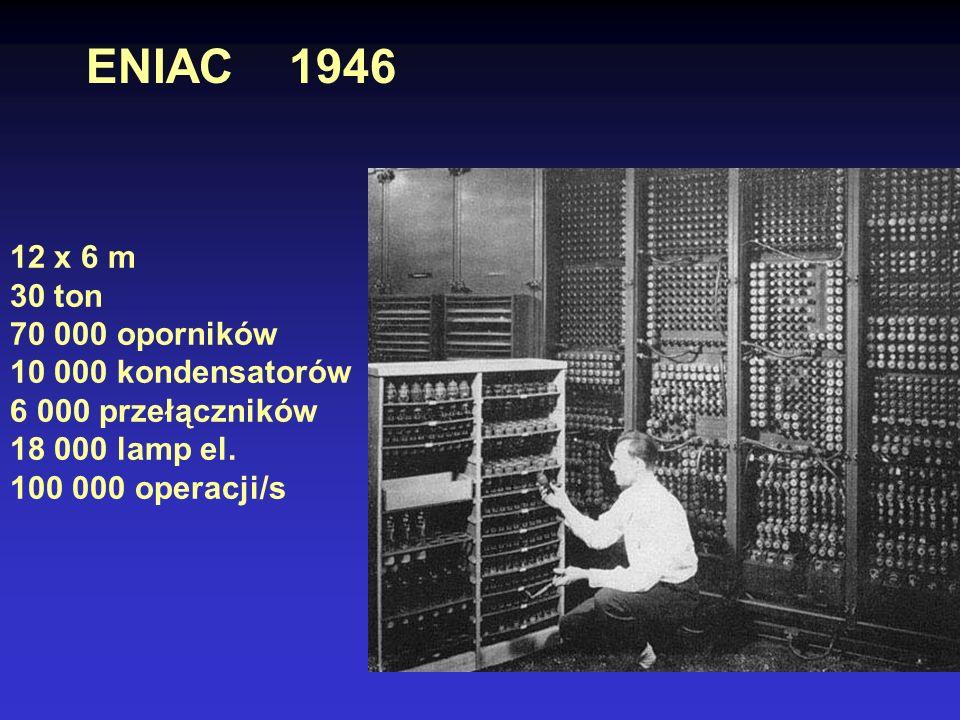 ENIAC 1946 12 x 6 m 30 ton 70 000 oporników 10 000 kondensatorów