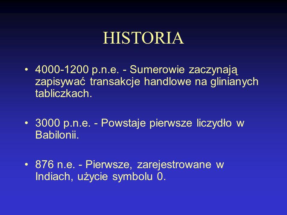 HISTORIA 4000-1200 p.n.e. - Sumerowie zaczynają zapisywać transakcje handlowe na glinianych tabliczkach.