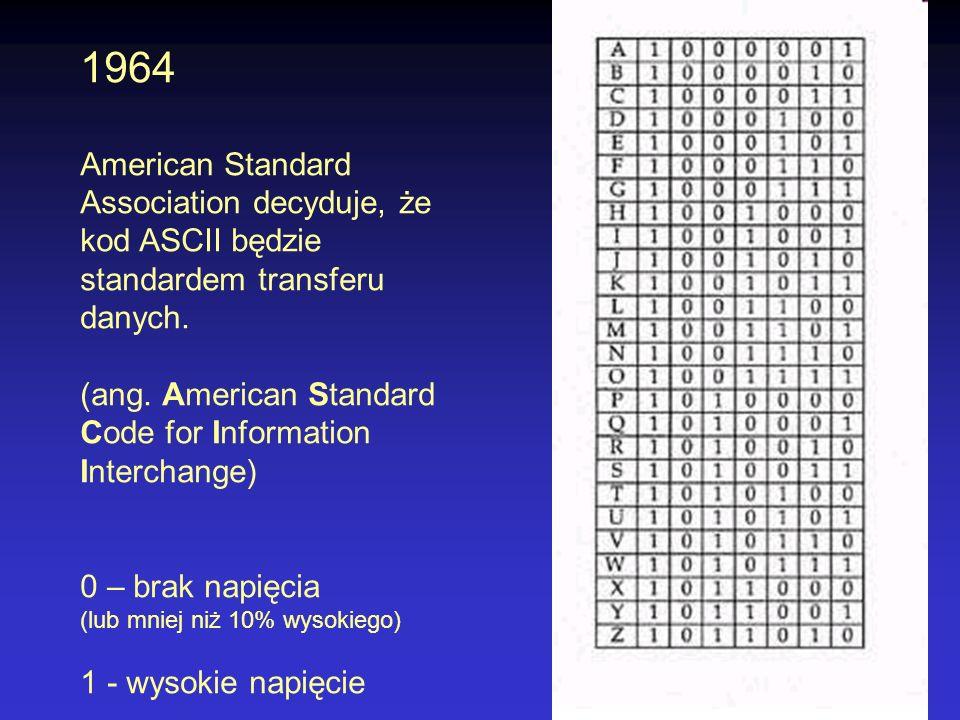 1964 American Standard Association decyduje, że kod ASCII będzie standardem transferu danych.