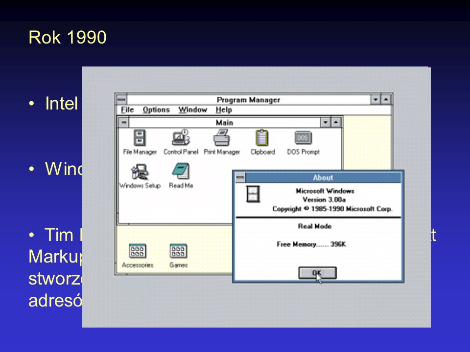 Rok 1990 Intel wprowadza procesor i486. Windows w wersji 3.0.