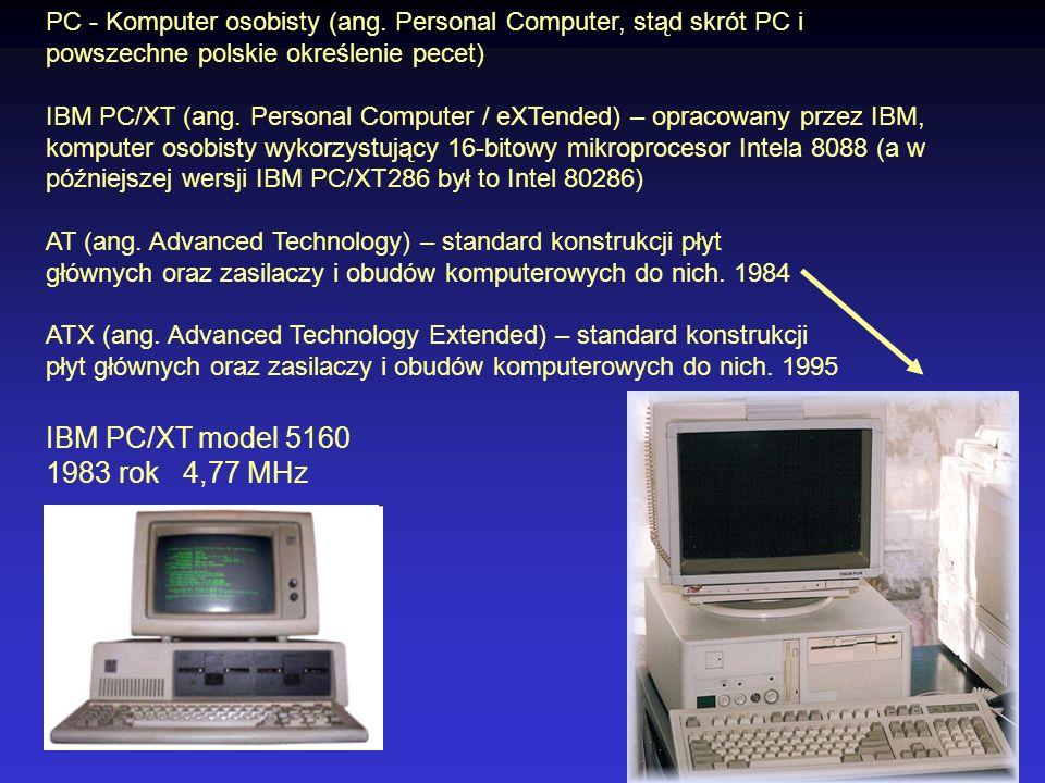 PC - Komputer osobisty (ang. Personal Computer, stąd skrót PC i