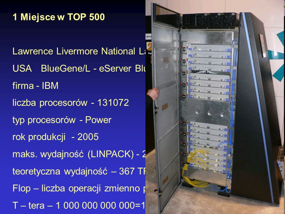 1 Miejsce w TOP 500Lawrence Livermore National Laboratory. USA BlueGene/L - eServer Blue Gene Solution.