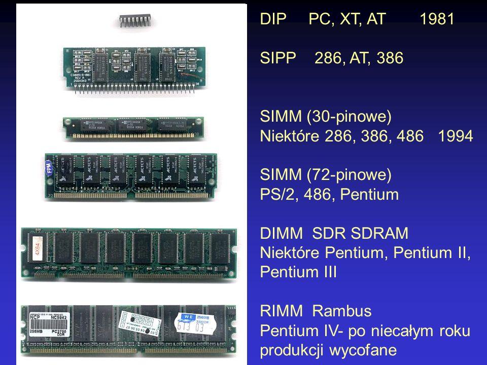 DIP PC, XT, AT 1981 SIPP 286, AT, 386. SIMM (30-pinowe) Niektóre 286, 386, 486 1994. SIMM (72-pinowe)