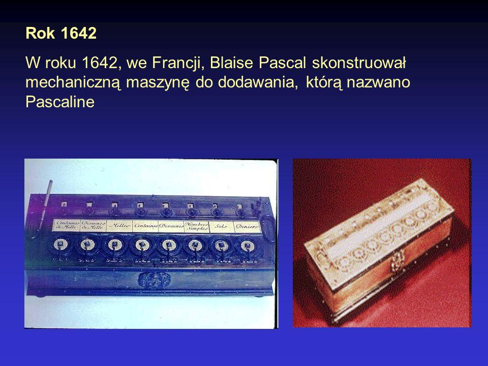 Rok 1642 W roku 1642, we Francji, Blaise Pascal skonstruował mechaniczną maszynę do dodawania, którą nazwano Pascaline.
