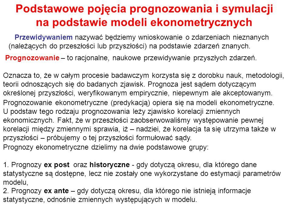 Podstawowe pojęcia prognozowania i symulacji na podstawie modeli ekonometrycznych