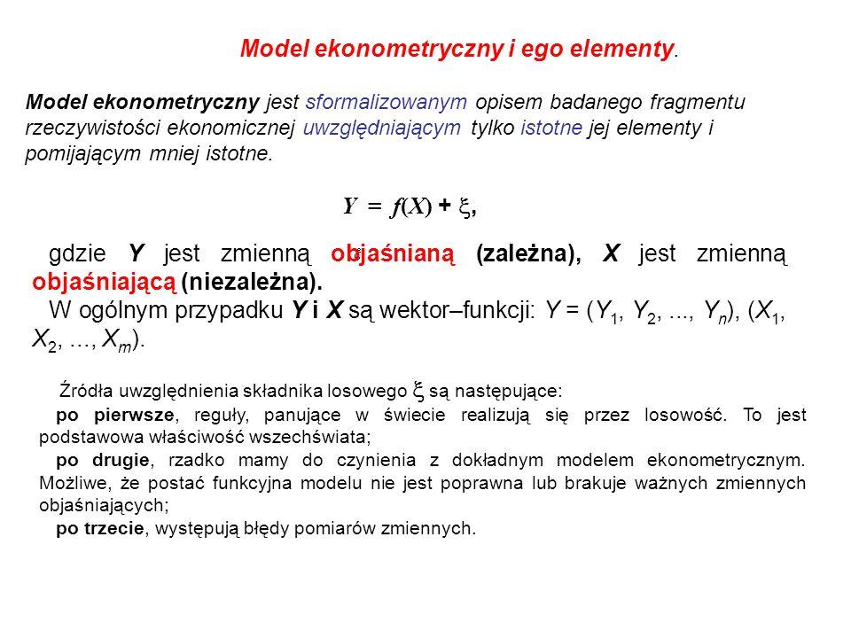 Model ekonometryczny i ego elementy.