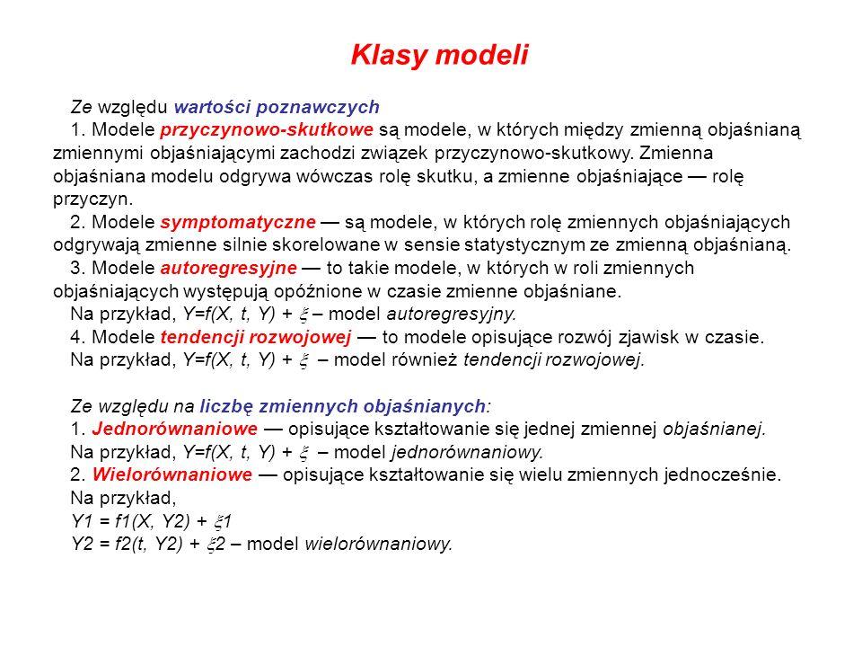 Klasy modeli Ze względu wartości poznawczych
