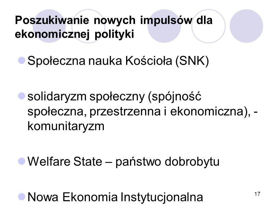 Poszukiwanie nowych impulsów dla ekonomicznej polityki