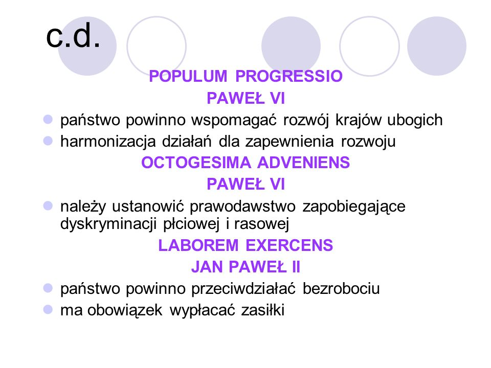 c.d. POPULUM PROGRESSIO PAWEŁ VI