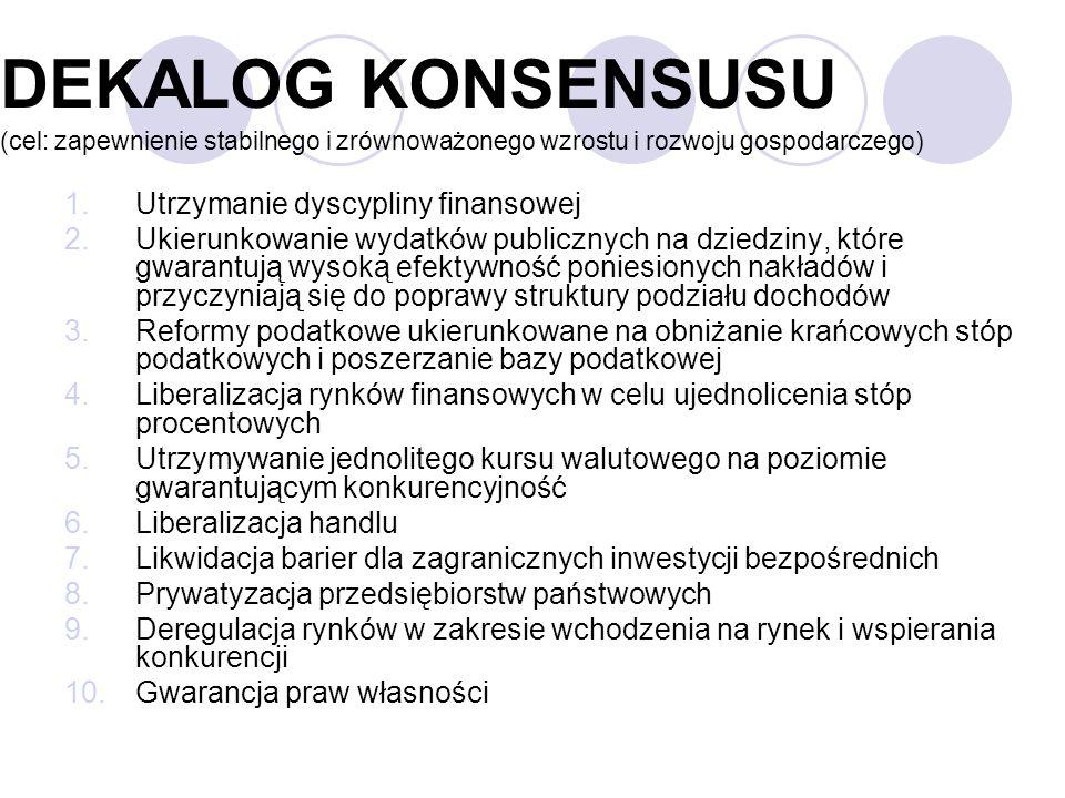 DEKALOG KONSENSUSU (cel: zapewnienie stabilnego i zrównoważonego wzrostu i rozwoju gospodarczego)