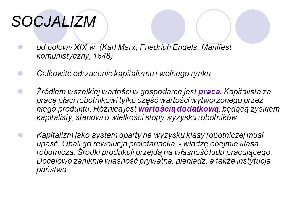 SOCJALIZM od połowy XIX w. (Karl Marx, Friedrich Engels, Manifest komunistyczny, 1848) Całkowite odrzucenie kapitalizmu i wolnego rynku.
