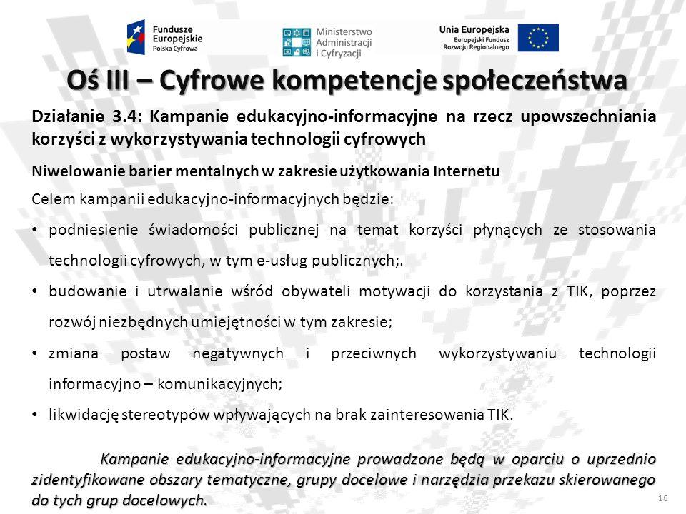 Oś III – Cyfrowe kompetencje społeczeństwa