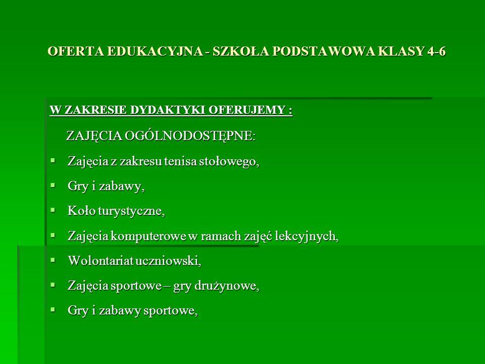 OFERTA EDUKACYJNA - SZKOŁA PODSTAWOWA KLASY 4-6