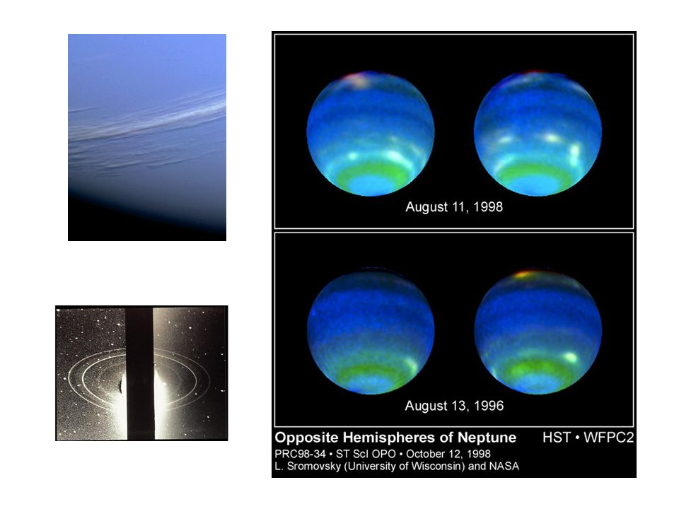 Feathery white clouds fill the boundary between the dark and light blue regions on the Great Dark Spot. The spiral shape of both the dark boundary and the white cirrus suggests a storm system rotating counterclockwise. Periodic small-scale patterns in the white cloud, possibly waves, are short-lived and do not persist from one Neptunian rotation to the next. Depicted here is the last face-on view of the Great Dark Spot that Voyager 2 made with its narrow-angle camera. The image was shuttered 45 hours before closest approach.
