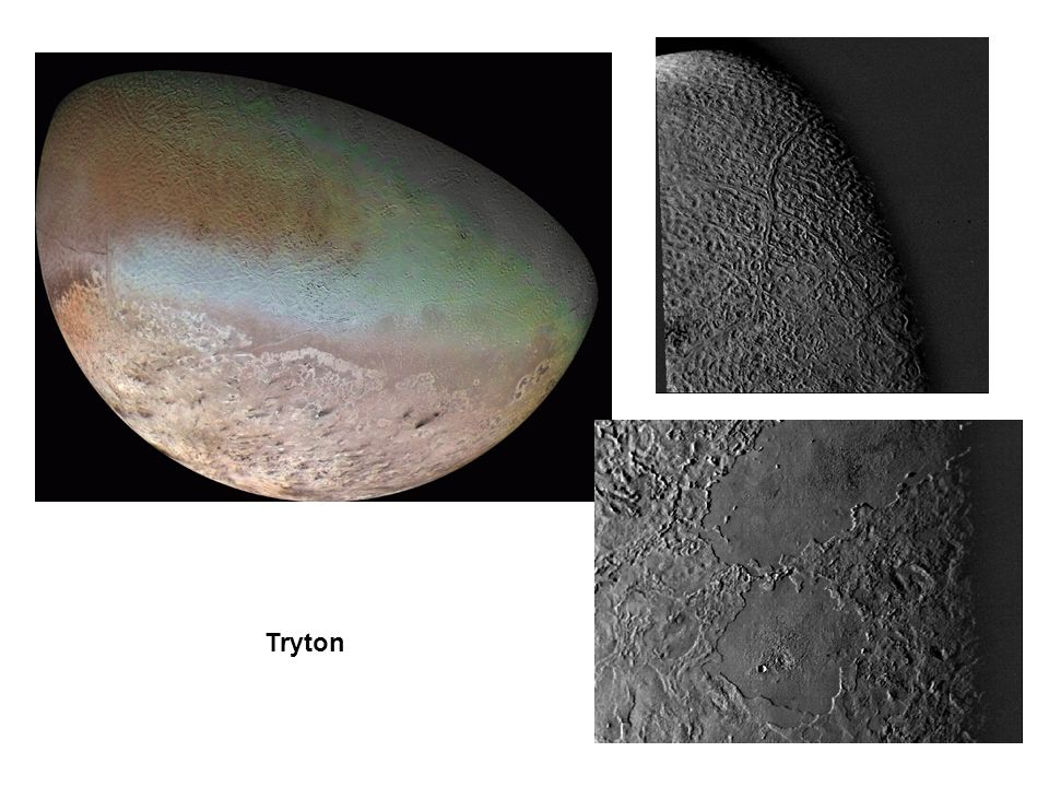 The pink hue of Neptune s largest moon, Triton, is thought to result from a slowly evaporating layer of nitrogen ice. Triton is an oddity among moons in that its orbit is highly tilted to the plane of Neptune s equator, and it is in a retrograde orbit. These facts have led scientists to believe that Triton formed independently of Neptune and was later captured by Neptune s gravity.