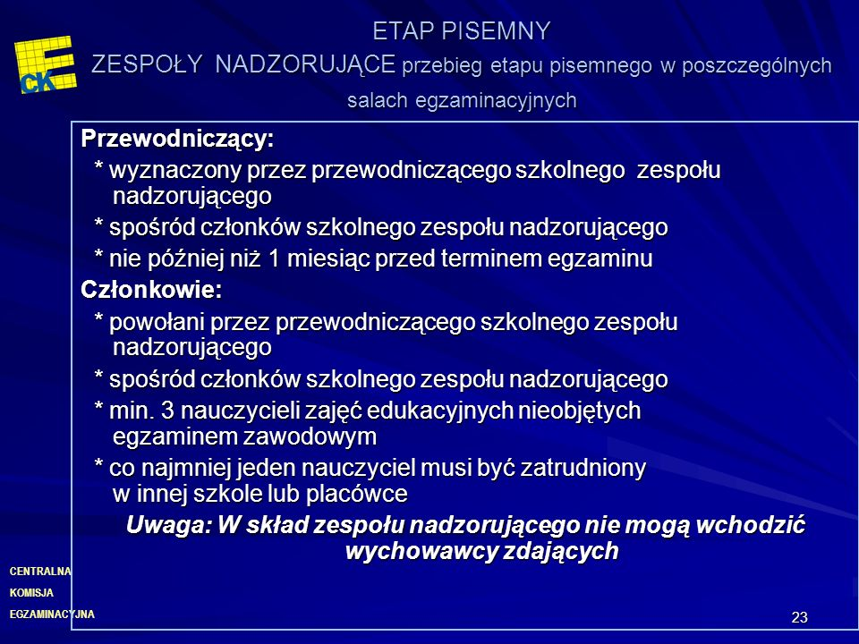 ETAP PISEMNY ZESPOŁY NADZORUJĄCE przebieg etapu pisemnego w poszczególnych salach egzaminacyjnych
