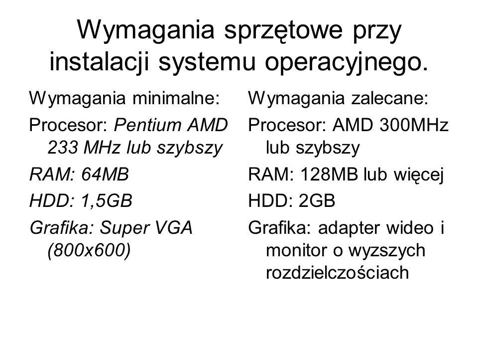Wymagania sprzętowe przy instalacji systemu operacyjnego.