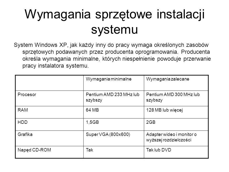 Wymagania sprzętowe instalacji systemu