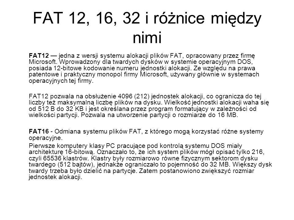 FAT 12, 16, 32 i różnice między nimi