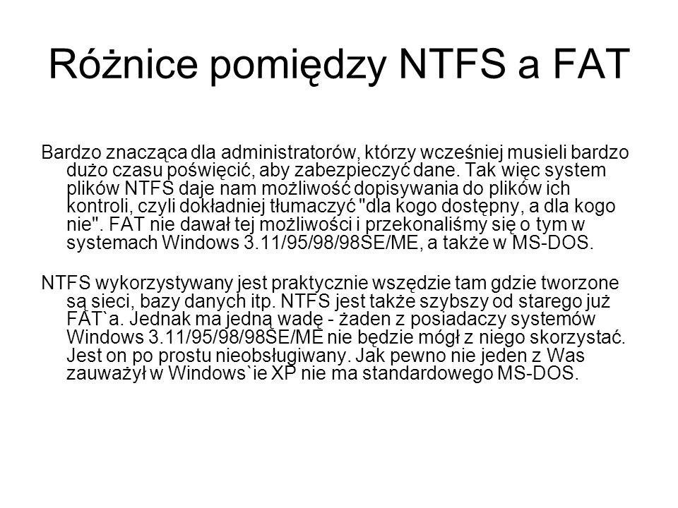 Różnice pomiędzy NTFS a FAT