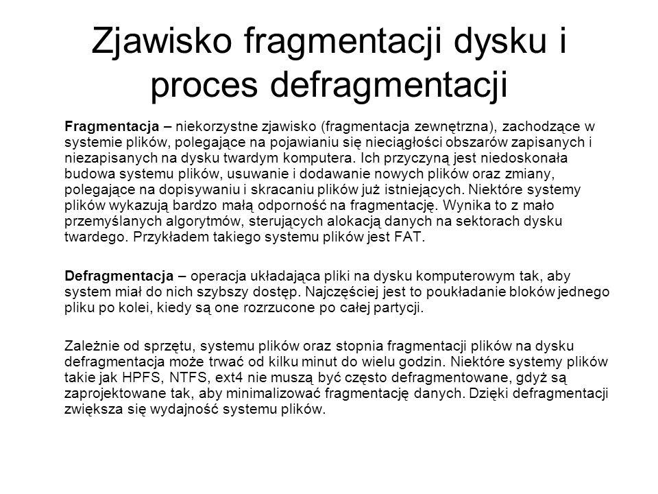 Zjawisko fragmentacji dysku i proces defragmentacji