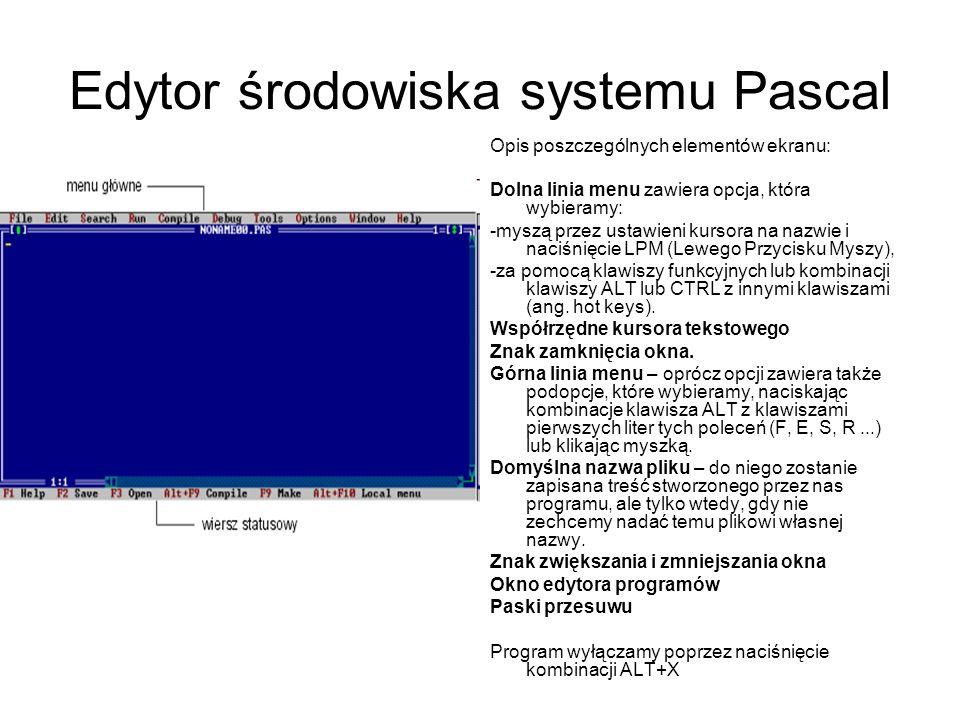 Edytor środowiska systemu Pascal